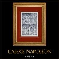Palacio de Versalles - Salons de la Guerre et de la Paix (Hardouin-Mansart) | Original huecograbado en sepia. Anónimo. 1911