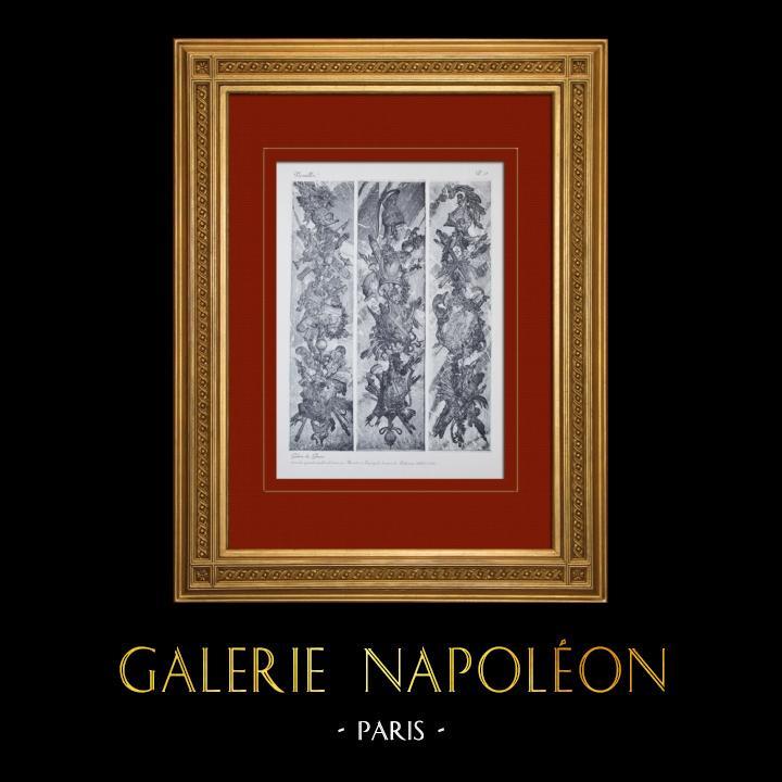 Gravures Anciennes & Dessins | Château de Versailles - Galerie des Glaces - Trophées d'armes (Buirette et Lespingola) | Héliogravure | 1911