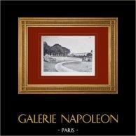 Slottet i Versailles - Le Grand Trianon - Façade sur les jardins et terrasses | Original heliogravyr sepia. Anonymt. 1911