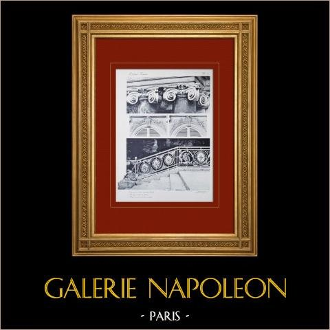 Palacio de Versalles - Le Grand Trianon - Chapiteaux - Rampe | Original huecograbado en sepia. Anónimo. 1911