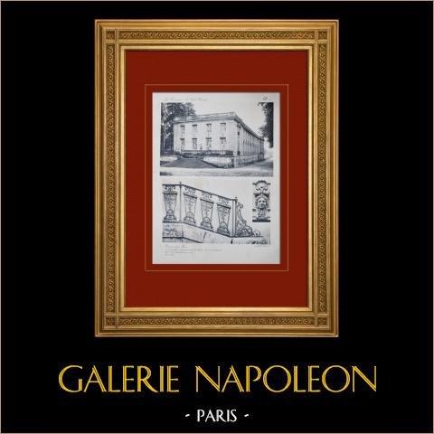 Palacio de Versalles - Le Grand Trianon - Trianon-sous-Bois - Balustrade | Original huecograbado en sepia. Anónimo. 1911