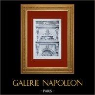 Château de Versailles - Le Grand Trianon - Trianon-sous-Bois - Couronnement des baies | Héliogravure originale. Anonyme. 1911