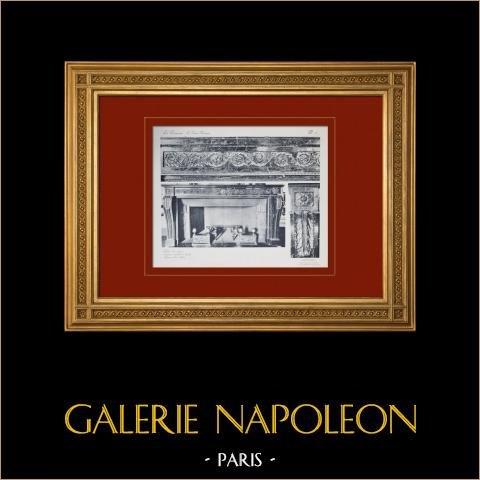 Slottet i Versailles - Le Grand Trianon - Cheminée | Original heliogravyr sepia. Anonymt. 1911