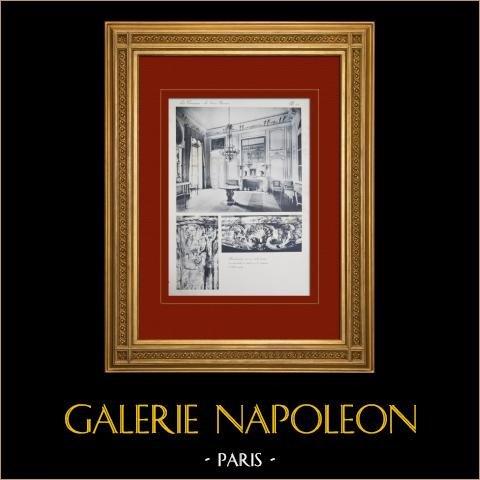 Slottet i Versailles - Le Grand Trianon - Antichambre du Roi - Cheminée | Original heliogravyr sepia. Anonymt. 1911