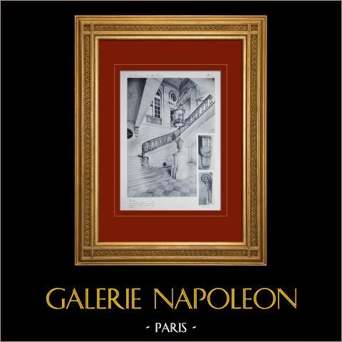 Palacio de Versalles - Le Petit Trianon - Escalier | Original huecograbado en sepia. Anónimo. 1911
