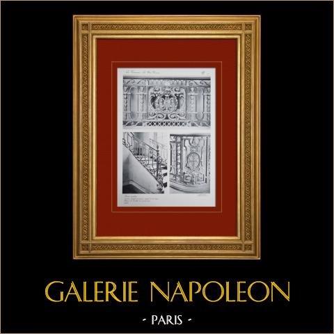 Palacio de Versalles - Le Petit Trianon - Grand escalier - Rampe | Original huecograbado en sepia. Anónimo. 1911