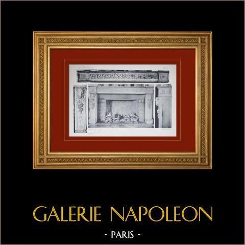 Slottet i Versailles - Le Petit Trianon - Grande salle à manger - Cheminée | Original heliogravyr sepia. Anonymt. 1911