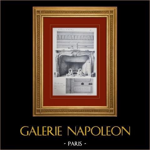 Slottet i Versailles - Le Petit Trianon - Petite salle à manger - Cheminée | Original heliogravyr sepia. Anonymt. 1911