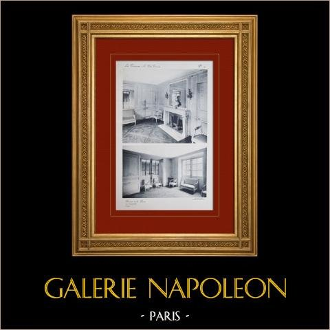 Slottet i Versailles - Le Petit Trianon - Boudoir de la Reine | Original heliogravyr sepia. Anonymt. 1911