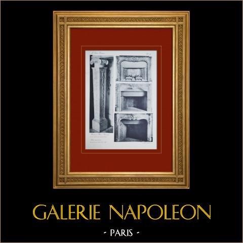 Slottet i Versailles - Le Petit Trianon - Boudoir de Marie-Antoinette - Petits Appartements - Cheminée | Original heliogravyr sepia. Anonymt. 1911