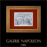 Palace of Versailles - Le Petit Trianon - Chambre à coucher - Détails du lambris   Original sepia toned heliogravure. Anonymous. 1911