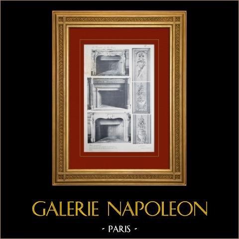 Slottet i Versailles - Le Petit Trianon - Petits Appartements - Cheminées | Original heliogravyr sepia. Anonymt. 1911