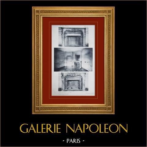 Slottet i Versailles - Le Petit Trianon - Petits Appartements du second étage - Cheminées | Original heliogravyr sepia. Anonymt. 1911
