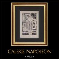 Villa Albani (Rome) - Plan - Casin - Parterre - Hémicycle | Héliogravure originale sur papier velin. Paul & Vigier. 1922