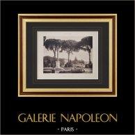 Villa Albani (Rome) - Rond-point des Pins | Héliogravure originale sur papier velin. Paul & Vigier. 1922