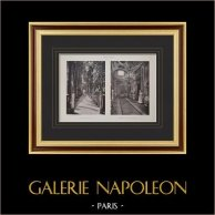 Villa Albani (Rome) - Allée - Billiards - Canope Galleria - Pilaster - Arabesque | Original heliogravure on vellum paper. Paul & Vigier. 1922