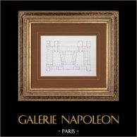 Ancien Hôtel de Ville de Paris - Plan de l'étage de l'Attique   Gravure originale en taille-douce sur acier. Anonyme. 1859