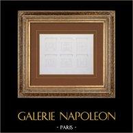 Antique Paris City Hall  - Ground floor - Cour d'honneur - Ceilings of  Galleries