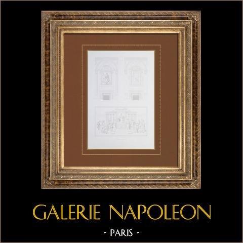 Antikvitet Paris Stadshus - Dekoration - Lägenhet - Fest - Innertak - Härder - Napoleon I - Gérard | Original stålstick efter teckningar av Roguet, graverade av Beyer. 1859