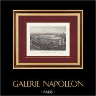 Vue de Paris - Avenue des Champs-Élysées - Palais de l'Industrie et des Beaux-arts (France) | Gravure originale en taille-douce sur acier. Anonyme. 1848