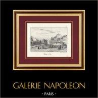 Vista di Parigi - Place de la République - Place du Château d'Eau - Fonte - La Fontaine aux Lions de Nubie (Francia) | Litografia originale litografata da Anst v. Orell Füssli. 1838