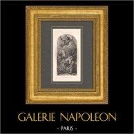 Peinture italienne - Vision de Sainte Anne (Giambattista Tiepolo)   Héliogravure originale d'après Giambattista Tiepolo. 1870
