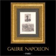 Peinture française - Barbizon - La Passerelle (Jules Dupré) - La Hutte dans la Forêt (Théodore Rousseau) | Héliogravure originale d'après Jules Dupré & Théodore Rousseau. 1890