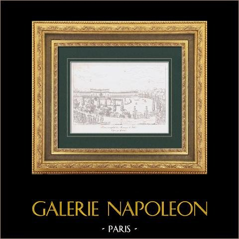 Celebration for the entry of plundered artworks - Champ de Mars (1798) - French Revolution - Napoleonic Campaign in Italy | Original steel engraving after Girardet. 1876