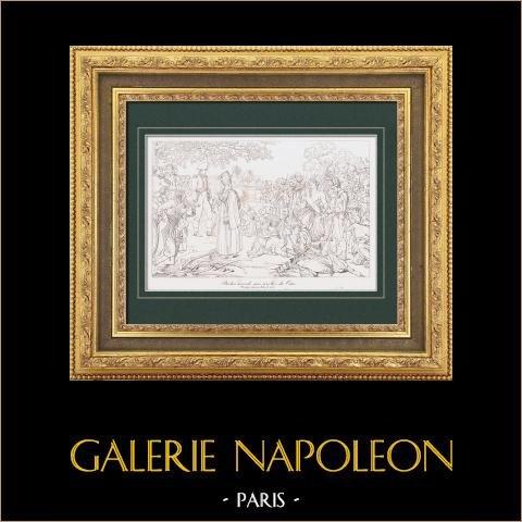Napoleone Bonaparte Perdona ai Ribelli del Cairo (1798) - Campagna d'Egitto - Impero Ottomano - Armee d'Orient - Mamelucchi | Stampa calcografica originale a bulino su acciaio secondo Guérin. 1876