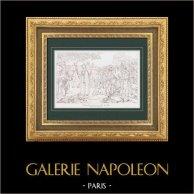Egyptierna frågar Förlåtelse från Kejsaren Napoleon (1798) - Egypten - Osmanska Riket - Uppror i Kairo - Armee d'Orient - Mamluker | Original stålstick efter Guérin. 1876
