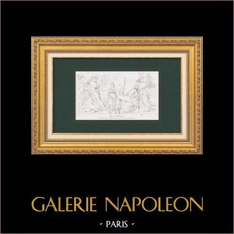 Pace di Presburgo - Napoleone I - Bassorilievo - Arco di Trionfo del Carrousel ad Parigi (Lesueur) | Stampa calcografica originale a bulino su acciaio incisa da Lesueur. 1876