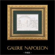 Napoléon devant la Tombe de Frédéric II de Prusse dit Frédéric le Grand (1807) | Gravure originale en taille-douce sur acier d'après Ponce-Camus. 1876