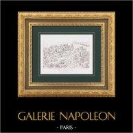 Napoleon Bonaparte - Napoleonic Wars - Battle of Eylau (1807)   Original steel engraving after Gros. 1876