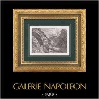 Napoleone Buonaparte - Alpes - Simplon - Napoleão   Gravura original em talho-doce sobre aço. Anónima. 1876