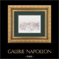 Napoléon Bonaparte - Guerres Napoléoniennes - La Bataille de Wagram (1809) | Gravure originale en taille-douce sur acier d'après Gros. 1876