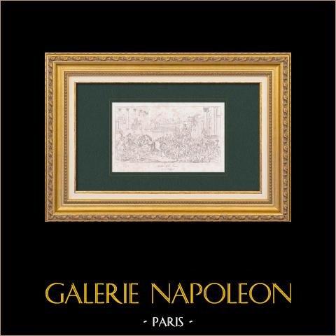 Allegoria - Apoteosi di Francia - Vittorie di Napoleone I (Regnault) | Stampa calcografica originale a bulino su acciaio secondo Regnault. 1876