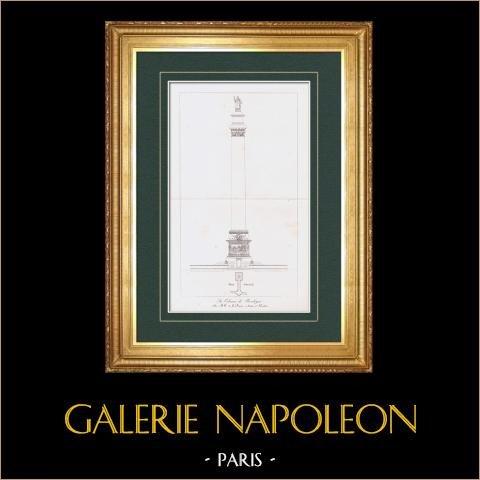 Colonna della Grande Armée - Colonne Napoléone - Napoleone I - Boulogne-sur-Mer (Francia) | Stampa calcografica originale a bulino su acciaio incisa da De la Barre, Moitte, Houdon. 1876