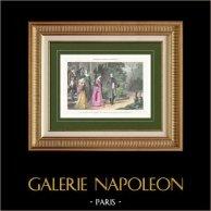 La Malmaison (Hauts-de-Seine - France) - Adieux de Napoléon et Reine Hortense de Beauharnais | Gravure originale en taille-douce sur acier dessinée par Karl Girardet, gravée par Pannemaker. Aquarellée à la main. 1864