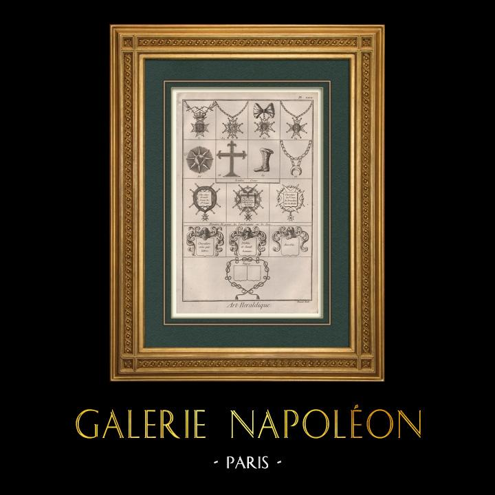 Antique Prints & Drawings | Heraldry - Coat of Arms - Escutcheon - Encyclopédie Méthodique - Diderot's Encyclopédie - Pl.27 | Copper engraving | 1751