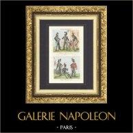 Uniforme militare - Esercito Francese - 1834 - Corazziere - Carabiniere - Lanciere - Ǜssaro | Stampa calcografica originale a bulino su acciaio disegnata da Martinet, incisa da Masson. Acquerellata a mano. 1835