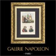 Costumes Régionaux Français - Femmes à Rochefort - Charente-Maritime - Portrait - De la Galissonnière (1646-1737) - Jean-Baptiste Baudin (1811-1851)