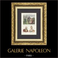 Trajes Regionais Franceses - Córsega - Retratos - Pascal Paoli (1725-1807) - Letizia Bonaparte (1750-1836)