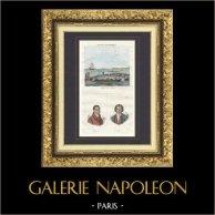 Pêche du Thon - Portraits - Pastoret (1755-1840) - Pierre Puget (1620-1694) | Gravure originale en taille-douce sur acier dessinée par Duc, gravée par Reville. Aquarellée à la main. 1835