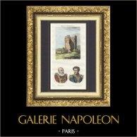 Tour de Vésone (Dordogne - France) - Portraits - Montaigne (1533-1592) - Daumesnil (1776-1832)