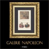 Cour de Cassation de Paris - Portraits de Mathieu Molé (1781-1855) et Michel de l'Hospital (1505-1573) | Gravure originale en taille-douce sur acier dessinée par Couché. Aquarellée à la main. 1835