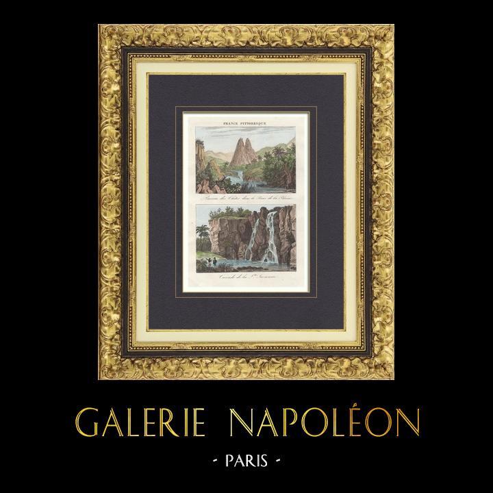 Antique Prints & Drawings | Basin of Chites - Waterfall Niagara of Sainte Suzanne (Ile Bourbon - Reunion) | Intaglio print | 1835