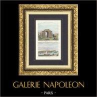 Arc Romain de Glanum - Saint-Rémy-de-Provence - Vue de La Ciotat (Bouches-du-Rhône - France) | Gravure originale en taille-douce sur acier gravée par Chamoin. Aquarellée à la main. 1835