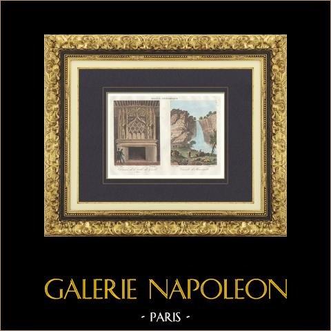 Härd - Salle des Gardes - Dijon - Vattenfall av Menevault (Côte d'Or - Frankrike) | Original stålstick efter teckningar av Buttura, graverade av Dureau, Fortier. Akvarell handkolorerad. 1835