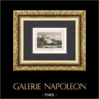Château Gaillard - Forteresse médievale - Ruines - Les Andelys (Eure - France) | Gravure originale en taille-douce sur acier dessinée par Rauch, gravée par Ransonnette. Aquarellée à la main. 1838