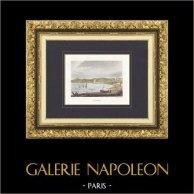 Vue de Cannes (Alpes-Marítimes - France) | Gravure originale en taille-douce sur acier dessinée par Rauch, gravée par Skelton fils. Aquarellée à la main. 1838